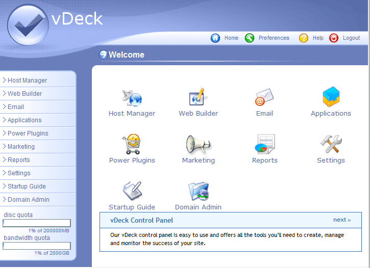 Web Hosting Control Panel (screenshot)